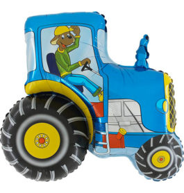 222BGR36 Traktor mit Hund blau
