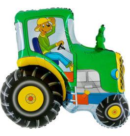 222GGR36 Traktor mit Hund grün