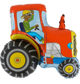 222RGR36 Traktor mit Hund rot
