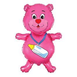 Bär mit Babyflaschen in rosa