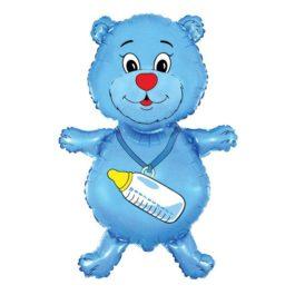 901648FX32 Bär mit Babyflaschen in blau