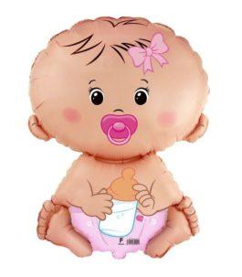 Baby mit Schnuller in rosa