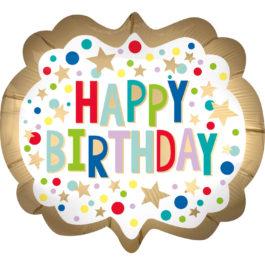 Happy Birthday –  Gold Satin Festzelt mit Punkten