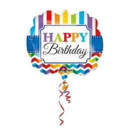 Happy Birthday –  Helle Streifen und Chevron