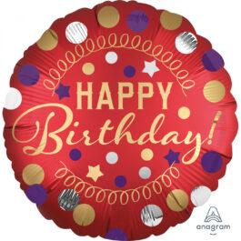 3906801ANS40 Happy Birthday –  Rot Satin Party