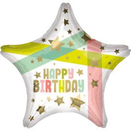 4131501ANS40 Happy Birthday – Gold Sterne und Farben